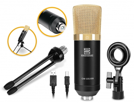 Pronomic CM-22-USB Microfono a membrana grande Podcast Set