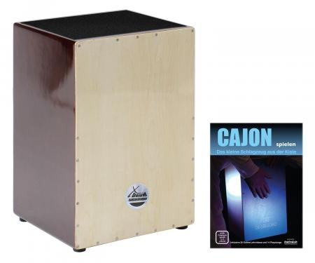 XDrum Cajón Natural Series madera marrón  incluye libro + Enlaces para descargar canciones playalong