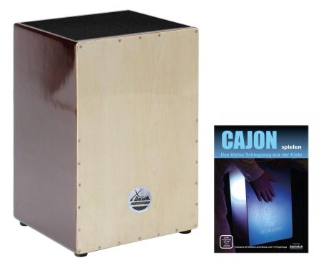 XDrum Cajon natural series, brownwood including Textbook + download links for playalongs