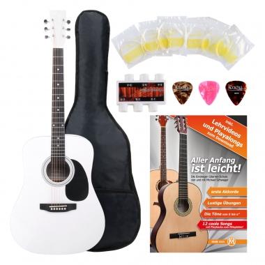Classic Cantabile guitare acoustique folk set démarrage incl. kit d'accessoires à 5 pièces, blanche