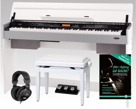 Classic Cantabile CP-A 320 WM E-Piano weiß matt SET inkl. Bank, Kopfhörer und Noten