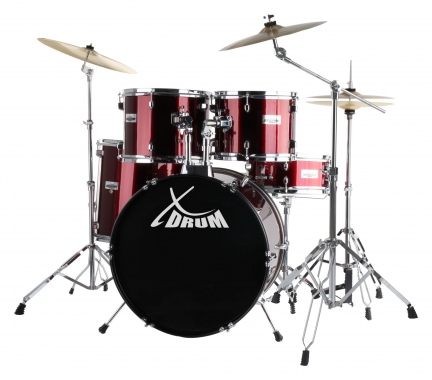 "XDrum Semi 20"" Standard Drumset Red SET incl. Boom Stand + Crash Cymbals"