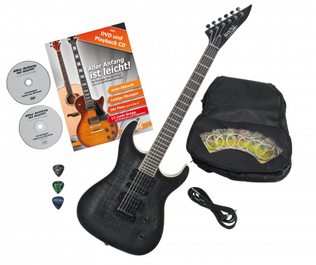 Rocktile per J150-TB electric guitar transparent black with accessories
