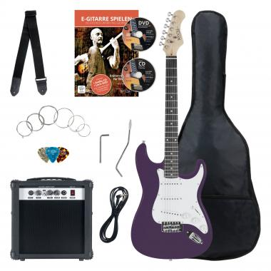 Rocktile banger's pak e-gitaar set, 8-delige paars