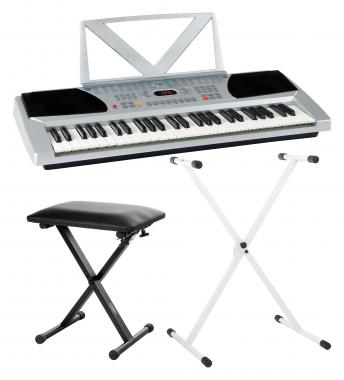 FunKey 54 SET incl keyboard keyboard stand silver + bench