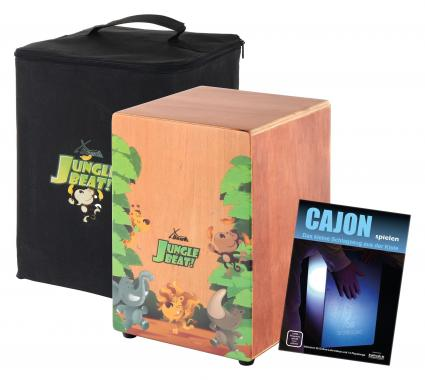XDrum Jungle Beat Kinder-Cajon SET inkl. Tasche, Cajonschule