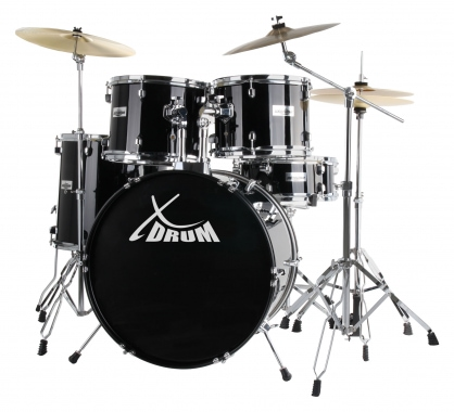 "XDrum Semi 22"" Standard Drumset Midnight Black SET incl. Boom Stand + Crash Cymbals"
