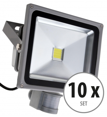 Showlite FL-2030B LED projecteur IP65 30 Watt 3300 Lumen détecteur de mouvement set de 10