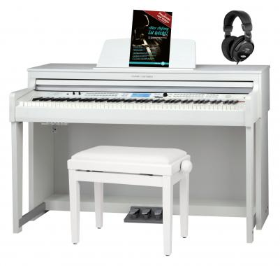 Classic Cantabile DP-A 610 Electric Piano White Matte Set including Bench, Headphones and School