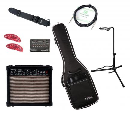 Rocktile e-gitaar Add On complete set medium - amp, tas, gordel, statief, tuner, kabel en plectrums