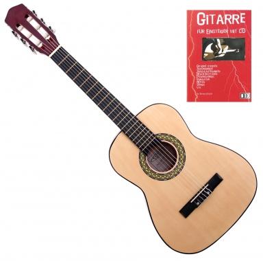 Classic Cantabile Acoustic Series AS-851-L Klassikgitarre 1/2 für Linkshänder + Gitarre für Einsteiger mit CD
