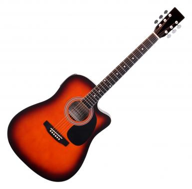 Classic Cantabile WS-10SB-CE Westerngitarre sunburst mit Tonabnehmer  - Retoure (Zustand: sehr gut)