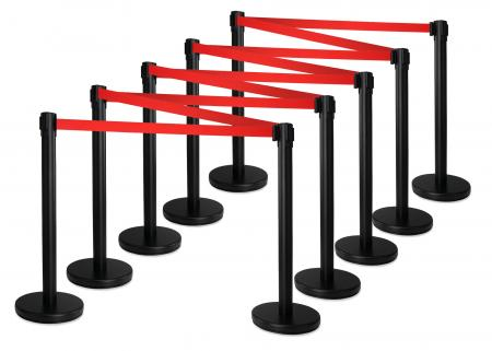 Stagecaptain PLS-200B Barricade Crowd Direction System – Black 10-Piece SET