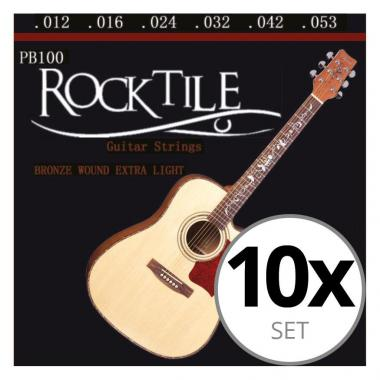 Rocktile Cordes de Guitare Folk Light Paquet de 10