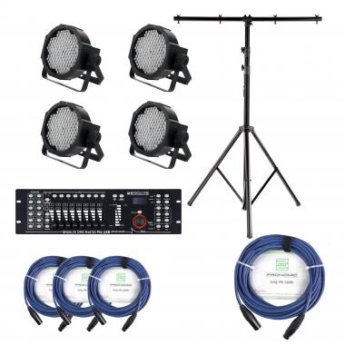 Showlite FLP-144W Floodlight 4-piece SET incl. DMX Controller, Master Pro USB, Stand and Cable