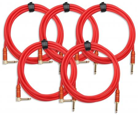 5-Piece SET Pronomic Trendline INST-3R Instrument Cable 3 m red