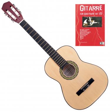 Classic Cantabile Acoustic Series AS-851-L Klassikgitarre 3/4 für Linkshänder + Gitarre für Einsteiger mit CD