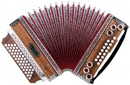 "Alpenklang 4/III Harmonika ""Deluxe"" B-Es-As-Des Nuss  mit HDS Voll-MIDI System - Ausstellungsstück (Zustand: sehr gut)"
