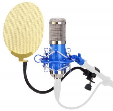 Pronomic CM-100B studio condenser microphone blue SET incl. Pop fliter gold
