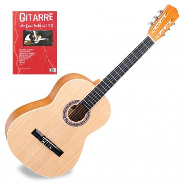 Classic Cantabile Acoustic Series AS-854 Klassikgitarre 4/4 + Gitarre für Einsteiger mit CD