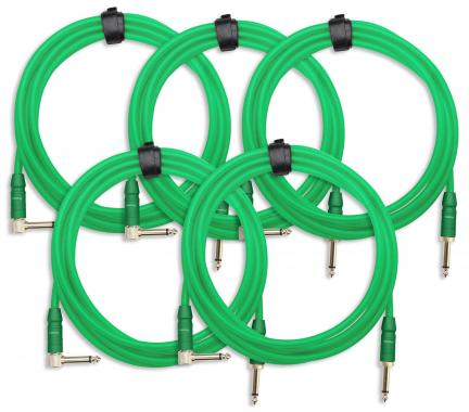 5-Piece SET Pronomic Trendline INST-3NG Instrument Cable 3m green