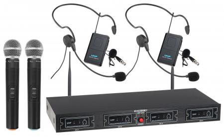 McGrey UHF-2V2H Quad Radio Microphone Set with 2x handheld microphones, 2 headsets and pocket tra
