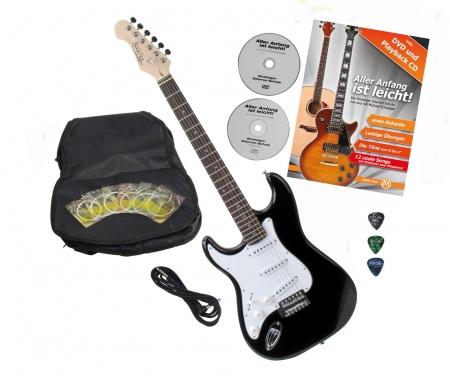 Rocktile Pro ST3-BK/RW-L Guitare électrique gaucher Black avec accessoires