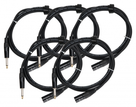 5-Piece Set of Pronomic Stage JMXM-2.5 Audio cable mono jack/XLR 2.5 m black