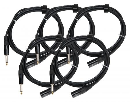 Pronomic Stage JMXM-2.5 Cavo audio jack mono/XLR 2,5m nero Set 5 pezzi