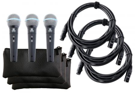 Pronomic DM-58-B Vocal Microphone with Switch 3 SET incl 3x bag