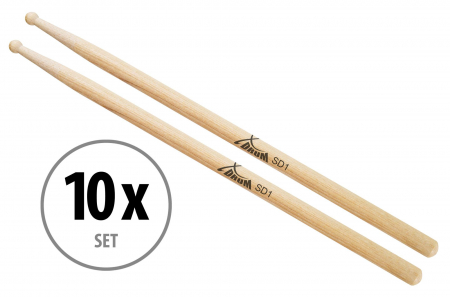 10 PAIR XDrum SD1 Wood Hickory Drumsticks