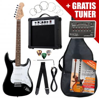 Rocktile ST Pack E-Guitar Set Black incl. Amp, Gig Bag, Tuner, Cable, Strap and Strings