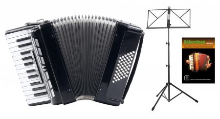 "Classic Cantabile 48-bass accordion """"Secondo III"""" black SET incl. Music stand"