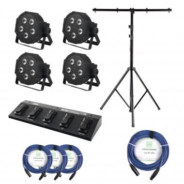 Showlite FLP-144 4xSet + Contrôle Pédale + Pied + Câble + Pied, 4 Projecteurs