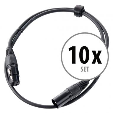 Pronomic XFXM Stage-1 Microphone Cable XLR 1 m Black Set of 10