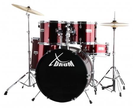 """XDrum Semi 22"""" Standard Schlagzeug Lipstick Red Set inkl. Schule + DVD - unvollständig!"""