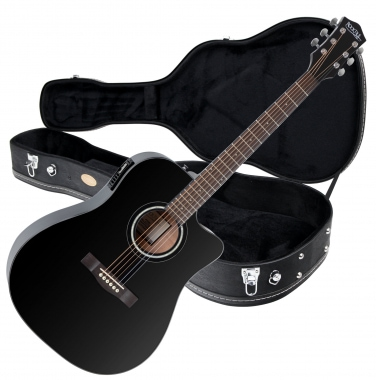 Rocktile D-60CE Acoustic Guitar Black SET including case