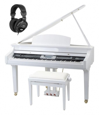 Classic Cantabile GP-500 Piano à Queue Numérique Blanc Brillant SET incl. Banquette + Casques