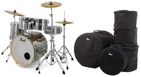 Pearl Export EXX725BR/C21 Drumkit Smokey Chrome Set mit Taschen