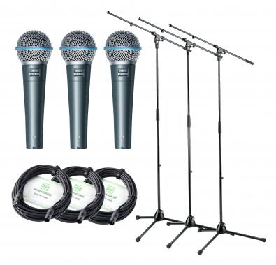 Shure Beta 58A Mikrofon 3x3 Set+ Ständer+ Kabel 3 Mikrofone