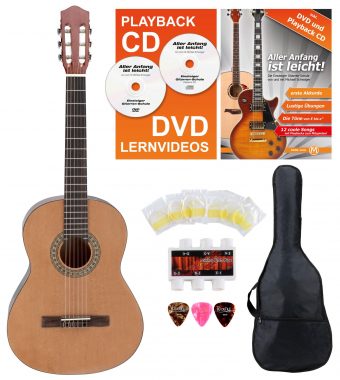 Calida Loretta Guitare de Concert 3/4 nature Starter Set