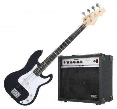 Rocktile Punsher E-bass (Black), set incl Soundking bass amp
