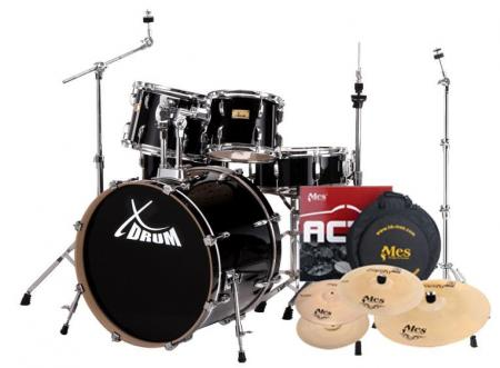 XDrum Stage II Fusion Drum Kit Set Raven Black incl. MES cymbal set and cymbal stands
