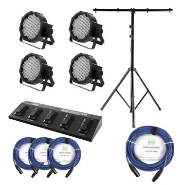 Showlite FLP-144W projecteur 4 x SET + contrôleur pédalier + statif + câble