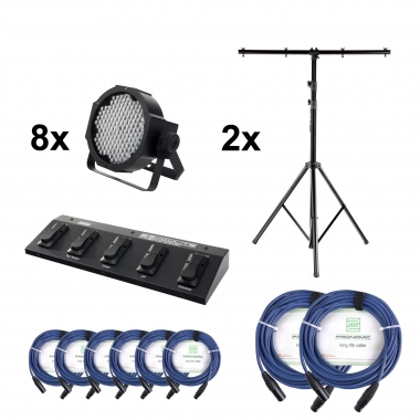 Showlite FLP-144 Floodlight 4-piece SET + Foot Controller, 2 Stands and Cable