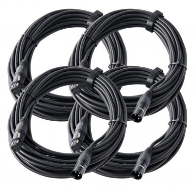 Pronomic Stage XFXM-10 microphone cable XLR 10 m, black SET of 4