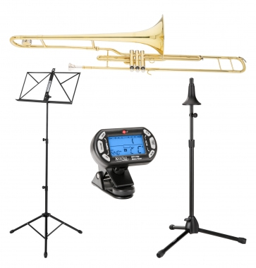 Classic Cantabile Brass VP-16 Slide Trombone Set incl. Metronome, Music Stand, Trombone Stand