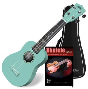 Classic Cantabile Soprano US-100 TQ Ukulélé turquoise SET avec cahier d'école + CD + housse