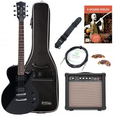 Rocktile LP-100 SB electric guitar black starter SET