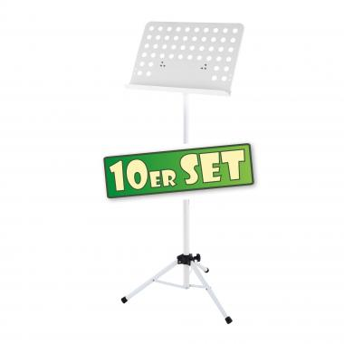 Ten-piece set: Classic Cantabile Music Stand, perforated metal, heavy white